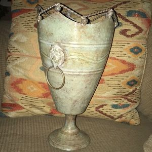 Accents - Vintage Metal Vase Lion Heads Details Weighty NICE